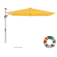 "Glatz Ampelschirm I Fortano ""Individual"" 300 x 300 cm - quadratisch, Stofffarbe: Klasse 4 - Dessin 404 White, Gestellfarbe: natureloxiert"