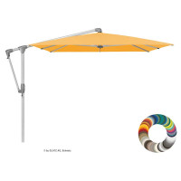 "Glatz Ampelschirm I Sunwing Casa ""Individual"" ∅ 300 cm - rund, Stofffarbe: Klasse 4 - Dessin 420 Smoke, Gestellfarbe: natureloxiert"